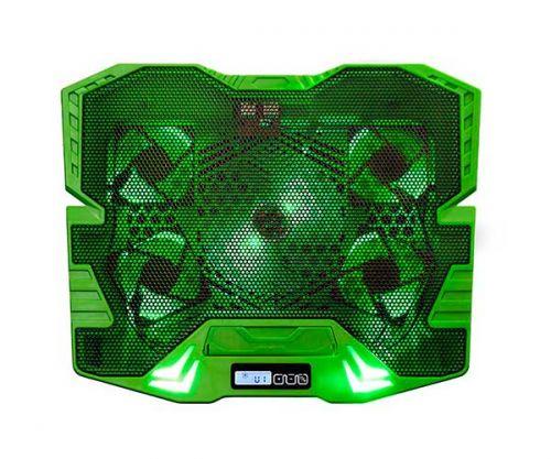 Base Para Notebook Multilaser Warrior Master Cooler Gamer USB LED Verde/Preto, AC292