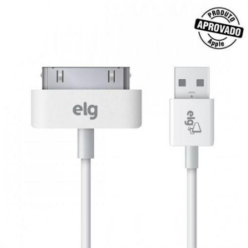 Cabo ELG 30 Pinos x USB Para Apple iPod/ iPhone/ iPad 1 Mts Branco, C3010
