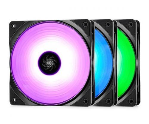 Kit Ventoinha DeepCool RF120 120mm RGB 3 Unidades, DP-FRGB-RF120-3C