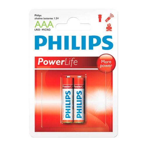 Pilhas Alcalinas Philips AAA 1,5v 2 Unidades, LR03P2B/97