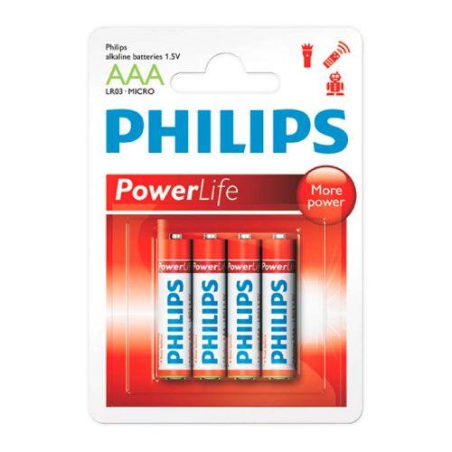 Pilhas Alcalinas Philips AAA 1,5v 4 Unidades, LR03P4B/97