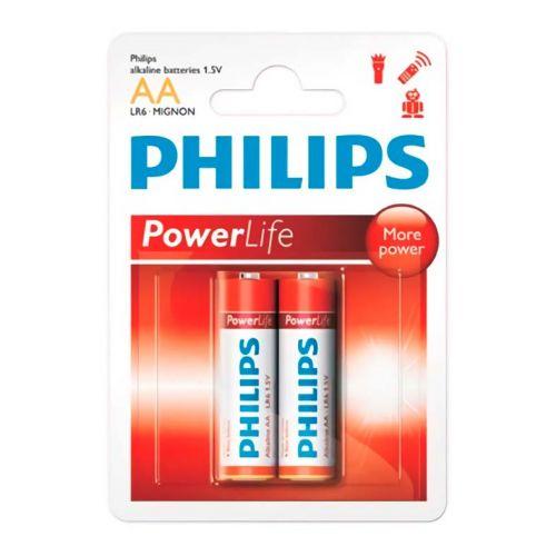 Pilhas Alcalinas Philips AA 1,5v 2 Unidades, LR6P2B/97