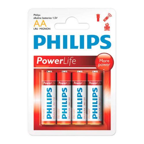 Pilhas Alcalinas Philips AA 1,5v 4 Unidades, LR6P4B/97