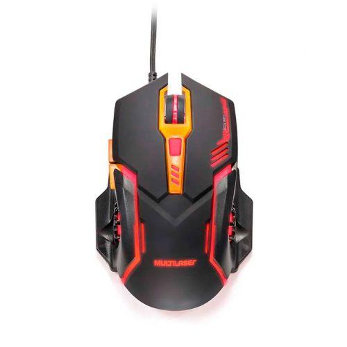 Mouse Gamer Multilaser 2400Dpi USB Led Vermelho Preto/Laranja, MO270