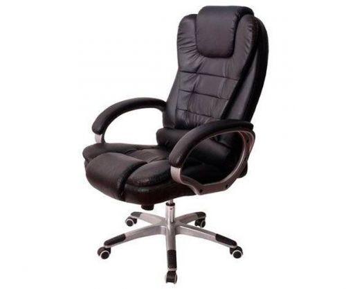 Cadeira De Escritório Mymax Presidente Elegant Couro Preto, MOCH-A800-BK