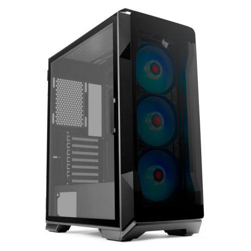Gabinete Gamer Pichau Pouter 3 RGB Lateral De Vidro Preto, PG-P03-RGB