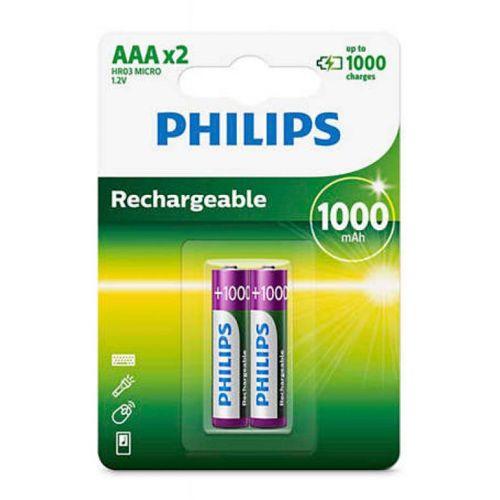Pilhas Recarregavel Philips AAA 1,2v 1000mAh 2 Unidades, R03B2RTU10/97