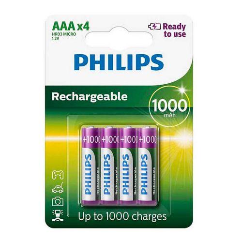 Pilhas Recarregavel Philips AAA 1,2v 1000mAh 4 Unidades, R03B4RTU10/97