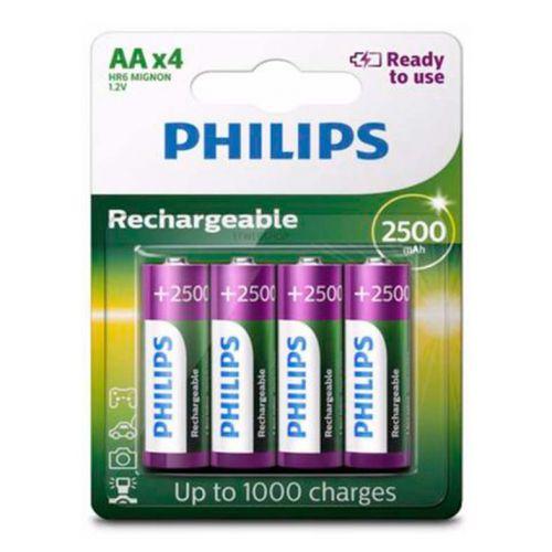 Pilhas Recarregavel Philips AA 1,2v 2500mAh 4 Unidades, R6B4RTU25/97