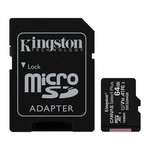 Cartao de Memoria Kingston 64GB Classe 10 Micro SDXC + Adaptador, SDCS2/64GB