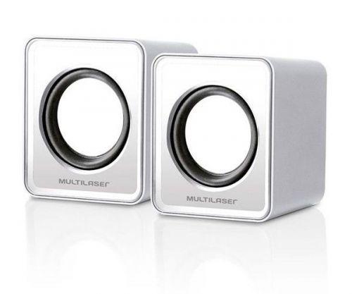 Caixa De Som Multilaser 3W Rms USB/P2 Branca, SP199