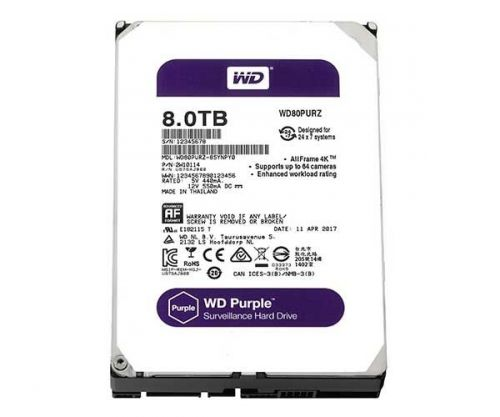 "HD WD Purple 8TB 3.5"" Sata III 6GB/s, WD82PURZ"